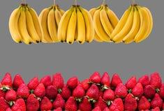 Horisontalbaner av mycket mogna banangrupp och strawberrys Begreppet av sund mat Arkivbild