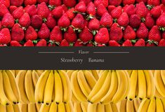 Horisontalbaner av mycket mogna banangrupp och strawberrys Begreppet av sund mat Royaltyfri Foto