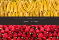 Horisontalbaner av mycket mogna banangrupp och strawberrys Begreppet av sund mat Royaltyfria Foton