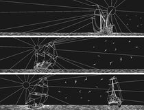 Horisontalbaner av seglingskepp med fåglar. Royaltyfria Bilder