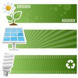 Horisontalbaner för grön ekologi Royaltyfria Bilder