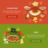 Horisontalbaner för italiensk kokkonst stock illustrationer