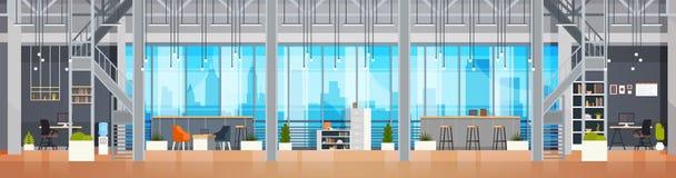 Horisontalbaner för tom för Coworking för Coworking kontor inre modern mitt idérik miljö för arbetsplats stock illustrationer
