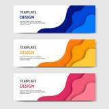 Horisontalbaner med abstrakt pappers- klippt stil 3D Vektordesignorientering för rengöringsduk, baner, titelrad, tryckreklamblad  royaltyfri illustrationer