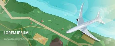 Horisontalbaner med flygplanflyg ovanför kust- eller havkusten, vägen och hus, flyg- sikt Flyg av passageraren Arkivfoto
