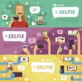 Horisontalbaner med folk som danandeselfiefoto på hans smartphones och fotokameror vektor illustrationer