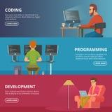 Horisontalbaner med illustrationer av formgivare och programmerare royaltyfri illustrationer