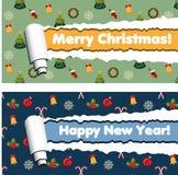 Horisontalbaner med sönderrivna band för rullande papper och modellen för vinterferier stock illustrationer
