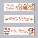 Horisontalbaneruppsättning för glad jul royaltyfri illustrationer