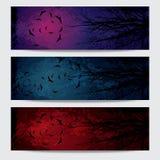 Horisontalbaneruppsättning för lycklig allhelgonaafton stock illustrationer