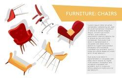 Horisontalbanner met Reeks verschillende stoelen die op witte achtergrond met ruimte voor uw tekst hangen Drijvend meubilair vlak stock illustratie