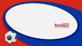 Horisontalbanret med att spela bollen och Ryssland färgar bakgrund Bakgrund av den fotboll- eller fotbollvärlden 2018 Royaltyfria Bilder