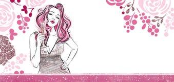 Horisontalblom- baner Flicka med ett exponeringsglas av champagne som överför luftkyssen Mallar för invintation stock illustrationer