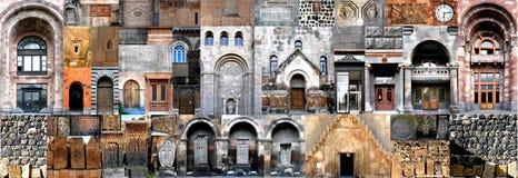Horisontalcollagearkitektur Armenien Arkivfoton
