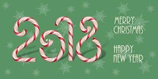 Horisontaldesignmall för glad jul och för lyckligt nytt år godistecken 2018 med text för lyckligt nytt år för glad jul Arkivfoto