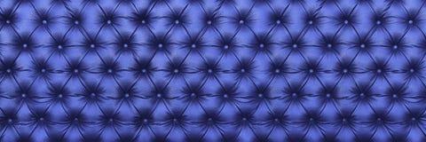 horisontalelegant mörker - blå lädertextur med knappar för PA Fotografering för Bildbyråer