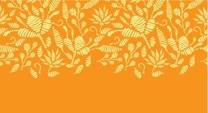 Horisontalgräns för guld- blom- broderi Arkivfoto