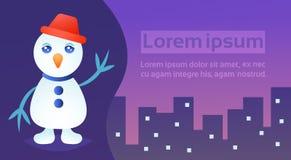 Horisontalgulligt vinkande begrepp för ferie för lyckligt nytt år för glad jul för bakgrund för cityscape för byggnader för snögu vektor illustrationer