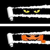 Horisontalhalloween baner med sönderrivna band för rullande papper och spöklika ögon som ut ser royaltyfri illustrationer