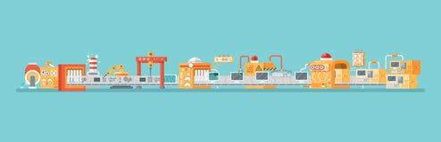 Horisontalillustration av transportören för enhet och att förpacka, produktionpersondatorer i plan stil Arkivbilder