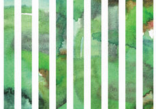 Horisontalillustration för grön vattenfärg, kornigt, stort som är baserad på bandformmodell Räcka utdraget, godan för presentatio vektor illustrationer