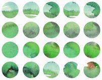 Horisontalillustration för grön vattenfärg, kornigt, stort som är baserad på cirkelformmodell Räcka utdraget, godan för presentat royaltyfri illustrationer