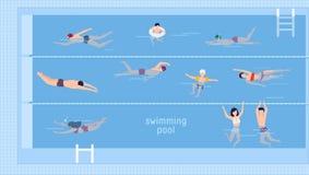 Horisontalillustration med simmare i simbassäng Top beskådar Olika folk och ungar i vatten, bad i olikt stock illustrationer