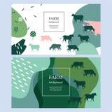 Horisontaljordbruks- baner Bakgrund för räkningar, reklamblad, baner Konturer av kor vektor illustrationer