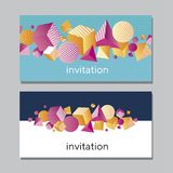 Horisontall abstrakt livligt kort Geometrisk begreppsfärg 3d Royaltyfria Bilder