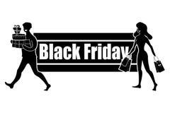 Horisontallogo för den Black Friday dagen Tillfredsställt med bra shoppingköpare Folket köper gåvor och objekt på försäljning royaltyfri fotografi