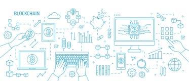 Horisontalmonochormebaner med händer, dator, bärbar dator, andra elektroniska apparater, bitcoinsymboler Blockchain royaltyfri illustrationer