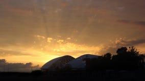 Horisontalpanorama- 16:9 för Sochi Fisht arenasolnedgång Arkivbild