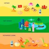 Horisontalplan baneruppsättning för vietnamesisk kultur stock illustrationer