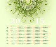 horisontalrad för 2015 kalender Royaltyfria Foton