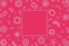 Horisontalram för bakterie- celler Vektoröversiktsillustration royaltyfri illustrationer