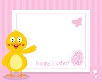 Horisontalram för lycklig påsk med fågelungen Royaltyfri Foto
