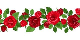 Horisontalsömlös bakgrund med röda rosor. royaltyfri illustrationer