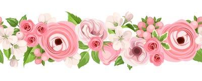 Horisontalsömlös bakgrund med rosa blommor också vektor för coreldrawillustration royaltyfri illustrationer