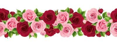 Horisontalsömlös girland med burgundy och rosa färgrosor också vektor för coreldrawillustration vektor illustrationer