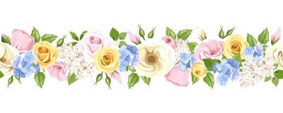 Horisontalsömlös girland med färgrika blommor också vektor för coreldrawillustration royaltyfri illustrationer