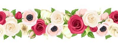 Horisontalsömlös girland med röda, rosa och vita blommor också vektor för coreldrawillustration royaltyfri illustrationer