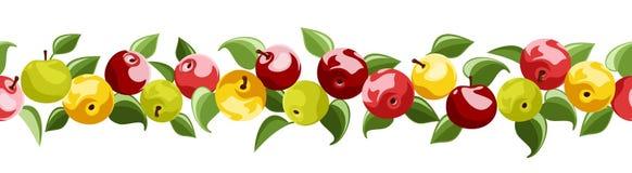 Horisontalseamless bakgrund med äpplen. Royaltyfri Fotografi