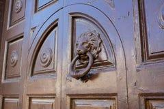 Horisontalsikt av en gammal Clapper på en forntida trädörr Royaltyfri Fotografi