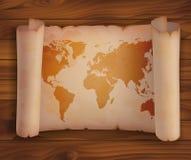 Horisontalsnirkelpapper, pergament med världskartan Royaltyfri Bild