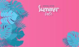 Horisontalsommarf?rs?ljningsbanret med papper klippte tropiska sidor p? rosa bakgrund Exotisk blom- design för banret, inbjudan,  royaltyfri illustrationer