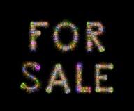 Horisontalsvart för TILL SALU fyrverkerier för text färgrika mousserande tillbaka royaltyfria foton