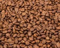 horisontaltextur för tätt kaffe upp kaffebönor som bakgrundstapeten arabicacofeeböna Arkivfoto