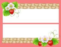Horisontaltvå inramar med jordgubbar Vektor Illustrationer