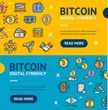 Horisontaluppsättning för Bitcoin Digital valutabaner vektor Fotografering för Bildbyråer