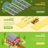 Horisontaluppsättning för lantbrukbanerkort vektor Arkivfoton
